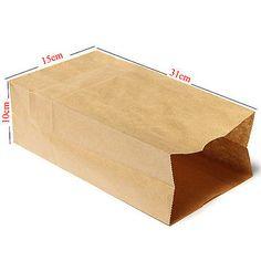 150*100*310mm Gift Bags Craft Packing Bread Food-Grade Kraft Paper Bags