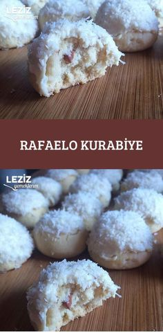Rafaelo Cookies - My Delicious Food - mutfagim - Desserts Chocolate Chip Cookie Cheesecake, Chocolate Chip Cookies, Cheesecake Bars, Sweet Cookies, Cake Cookies, Cookie Recipes, Dessert Recipes, Cookie Images, Mexican Wedding Cookies