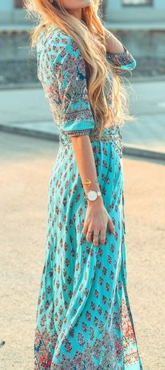 Bohemian Floral Printed V Neck Split Dress