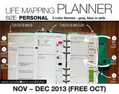 Nov to Dec 2013 (Free Oct) - Life Mapping Planner - PERSONAL Inserts - Refills Filofax Binder Collins