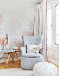 Emily Henderson Girl Nursery with Pink Tree Wallpaper