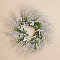 24 inch White Twig Wreath With Blue Mussels, Native Scallop Shells, Summer Grass and Three Starfish