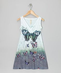 Another great find on #zulily! Green Butterfly Surplice Dress - Girls by India Boutique #zulilyfinds