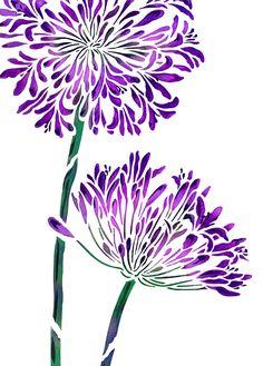 Agapanthus Flower Stencil in striking purple Sunflower Stencil, African Lily, Stencil Diy, Flower Stencils, Rose Stencil, Large Stencils, Stenciling, Monochrome Color, Motif Floral