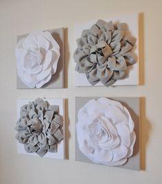 White Flower Wall Decor flower wall decor -white dahlia on gray and white polka dot 12 x12