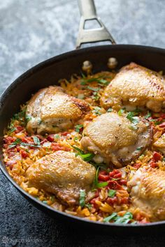 One pot chicken and orzo with onions, tomato, garlic. Delicious! Quick and easy too. On SimplyRecipes.com