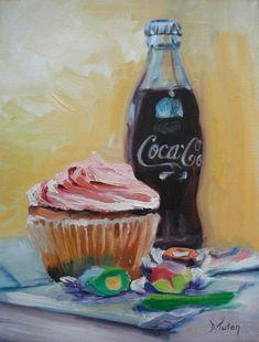 Sugar Overload by Donna Tuten Cupcake Painting, Cupcake Art, Acrylic Paint On Wood, Painting On Wood, Coca Cola, Wood Print, Art Print, Beautiful Paintings, Food Photo