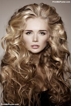 Model With Blonde Long Hair Waves Curls Hairstyle Salon Updo Fashion Shiny Poster