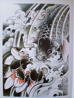 黑灰鲤鱼莲花纹身手稿