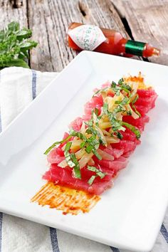 Tuna Crudo with Pickled Eggplant and Fiery Roasted Tomato Puree
