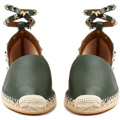 Valentino Rockstud leather espadrilles (45.195 RUB) ❤ liked on Polyvore featuring shoes, sandals, ankle strap sandals, wrap around ankle sandals, leather ankle strap sandals, valentino shoes and leather espadrille sandals