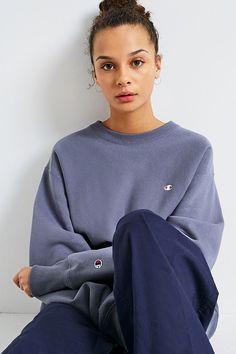f20ab82ef075 Champion X UO Blue Reverse Weave Crew Neck Sweatshirt. Urban Outfitters