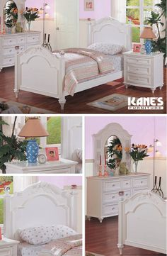 Your little girl is going from the crib to the big girl bed! Pick one she'll love, like the Chantilly Twin Bed Collection! The collection features Asian hardwoods in white finish and delicate detailing on the headboard, footboard, drawers and vanity.
