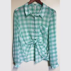Free People Shirt. Free People lime & white squared button down shirt. See-through-ish 100% Polyester. Free People Tops Tees - Long Sleeve