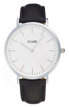 Main Image - CLUSE La Bohème Leather Strap Watch, 38mm