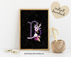 Capricorn Zodiac Printable, Astrology Wall Art, Star Sign, Birthday gift, Floral Print, Constellation, Digital Download Zodiac Capricorn, International Paper Sizes, Constellations, Birthday Gifts, Floral Prints, Printables, Colours, Sign, Wall Art