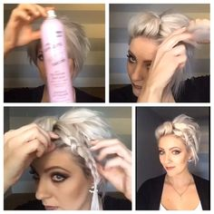 Here's today's #shorthairtutorialmonday #instavid #instapeek. @myamazinghairsecretsph dry shampoo, with @sudzzfxinc design powder at my roots already and the @kenraprofessional dry texture spray. Tease until nice and full, two proofs and then a pan caked Dutch Braid pinned to one side. Full video on my YouTube channel (link in profile). #shorthair #shorthairideas #shorthairstyles #shorthairtutorial #shorthair_love #shorthairdontcare #nothingbutpixies #pixiestyles #undercut #dirtyhair…