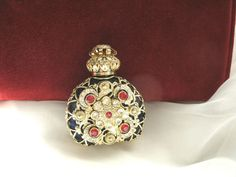 "Vintage ""Glass Bohemia"" Mini Czech Brass Filigree Perfume Bottle Blue with Stone   eBay"