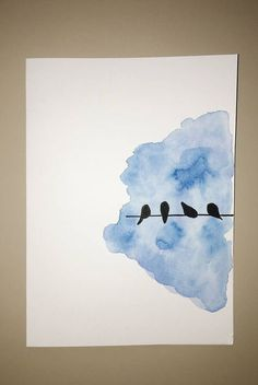 Birds on a wire card, bird greeting card, hand-painted card .- Birds on a wire card Bird greeting card Hand painted card Watercolor card Bird silhouette water Vogel Silhouette, Bird Silhouette, Silhouette Painting, Art Inspo, Painting Inspiration, Style Inspiration, Watercolor Cards, Watercolor Ideas, Easy Watercolor Paintings