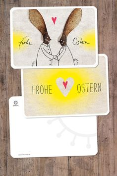 """Osterkarten im 2er-Set. Originelle Osterkarte mit """"Ahorn-Nasen"""" als Ohren. Zum Verteilen des """"Osterlichtes"""" ..."""