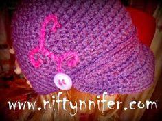 Free Adult Newsboy Style Beanie Crochet Pattern by Niftynnifer