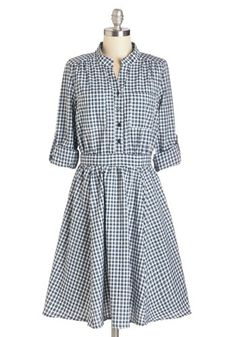 Morning Muffins Dress - Green, Tan / Cream, Plaid, Buttons, Pockets, Casual, A-line, Long Sleeve, Fall, Woven, Long, Cotton, Multi, Blue