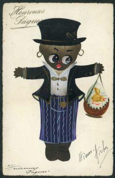 France Easter - Orig Handpainted Black Child with Chick on Egg in Basket P643