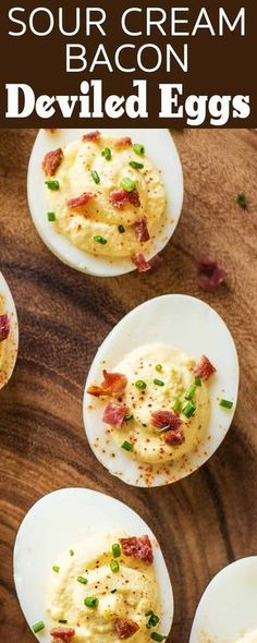 These deviled eggs are made with sour cream instead of mayonnaise! Topped with bacon and chives. Great party appetizer!