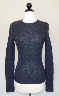 GIORGIO ARMANI Charcoal Gray Blue Open Weave Textured Knit Sweater Fitted 6 #GiorgioArmani #Crewneck
