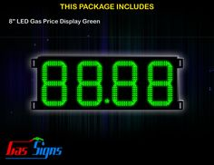 8 Inch 88.88 LED Gas Price Display Green with housing dimension H293mm x W632mm x D55mmand format 88.88 comes with complete set of Control Box, Power Cable, Signal Cable & 2 RF Remote Controls (Free remote controls).