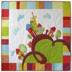"""Купить Детское лоскутное одеяло с аппликацией """"Веселые домики"""" - одеяло, одеяло детское, детское одеяло"""