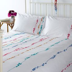 John Lewis have really gone places with their latest bedding collection - fresh, summery and laid back, all with a hint of fabulousness. Bed Cover Design, Cushion Cover Designs, Bed Design, Linen Curtains, Linen Bedding, Bedding Sets, Bed Linen, Fabric Painting On Clothes, Stock Kitchen Cabinets