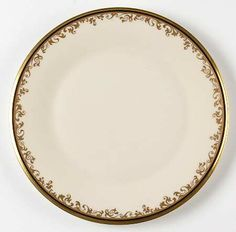 """""""Eclipse"""" china pattern with gold scroll trim & black band from Lenox."""