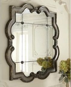 Large Ornate Silver Quatrefoil Mirror