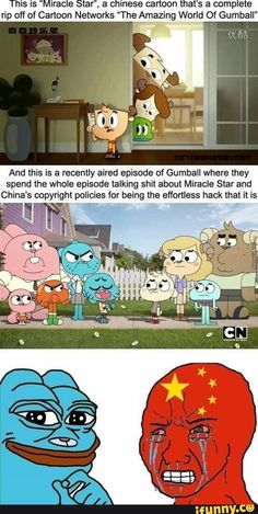 """Picture memes — iFunny This is """"Miracle Staf'. a chinese cartoon that's a complete rip off of Cartoon Networks """"The Amazing World Of Gumball"""" And mis is a recently aired episode of Gumball w Really Funny Memes, Stupid Funny Memes, Funny Relatable Memes, Haha Funny, Hilarious, Cartoon Crossovers, Cartoon Memes, Cartoon Characters, Foto Cartoon"""