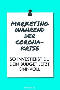 Der Ausnahmezustand, der durch die Corona-Krise aktuell in der Gesellschaft herrscht macht natürlich auch nicht halt vor der Marketing-Abteilung. Viele Kampagnen müssen verschoben oder abgesagt werden und es ist Kreativität gefragt, wie man jetzt während der Krise Marketing betreibt und worin man sein Budget sinnvollerweise investiert. Wir geben dir konkrete Beispiele und Tipps dafür, wie du dein Marketing während Covid-19 weiterbetreiben kannst. #corona #coronakrise #marketing #krisenmarketing Budget, Calm, Marketing, Corona, Investing, Things To Do, Tips, Ideas, Budgeting