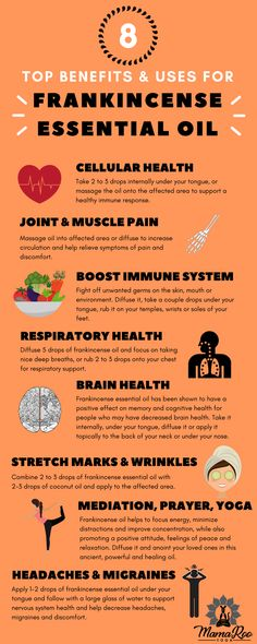 8 top benefits and uses for Frankincense Essential Oil. Natural remedies for cellular, respiratory, brain health, headaches and more. Frankincense for yoga and meditation and many other uses. Click the image for more and re-pin to share with your friends!