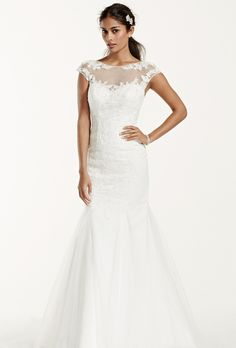 Brides: David's Bridal. See More David's Bridal Collection Gowns��Tulle over satin trumpet gown with cap sleeve.