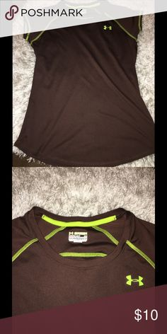 Under Armour Athletic Top Small Brown with lime green trim athletic style top.  Short sleeves.  Size small. Under Armour. Great condition.  Important:   All items are freshly laundered as applicable prior to shipping (new items and shoes excluded).  Not all my items are from pet/smoke free homes.  Price is reduced to reflect this!   Thank you for looking! Under Armour Tops Tees - Short Sleeve