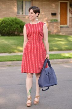 Already Pretty outfit featuring Article 23 dress, navy leather bag, espadrilles, gypsy earrings