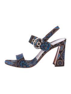 Prada Square-Toe Jacquard Sandals