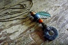 Items similar to Boho Necklace, Handmade Pendant with Brass Verdigris Patina Leaf. Hammered Copper Washer with Patina, Czech Beads, Ball Chain, Brass Cone on Etsy Boho Necklace, Boho Jewelry, Pendant Necklace, Jewelry Ideas, Hammered Copper, Brass, Ball Chain, Handmade Necklaces, Peace And Love