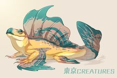 Draw Creatures Embedded - Can live both in water and on land. They are a type of lizard fish. They are extremely common, and their meat and eggs are typical everyday food for the Ezmae. Mythical Creatures Art, Alien Creatures, Mythological Creatures, Magical Creatures, Fantasy Monster, Monster Art, Creature Concept Art, Creature Design, Creature Drawings