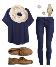 Outfit azul con bufanda beige y zapatos cafes