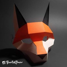 Looking for a DIY mask? PDF file includes a detailed instruction with drawings how to make a mask at home. 3 sizes with schemes included. 3d Paper Crafts, Cardboard Crafts, Origami, Paper Face Mask, Cardboard Mask, Fox Mask, Mask Template, Small Sewing Projects, Fox Pattern