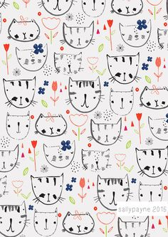 Illustration and surface pattern Art And Illustration, Pattern Illustration, Graphic Design Illustration, Cute Pattern, Pattern Art, Kids Patterns, Print Patterns, Cat Doodle, Doodles