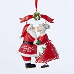 Kurt Adler Mr & Mrs Santa Under The Mistletoe Ornament #C8800