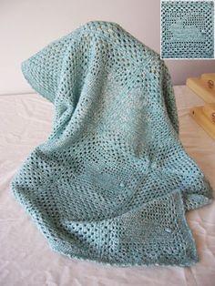 Baby Bunny Blanket by Lynda Rossetti, filet crochet pattern, Gems Fingering Weight