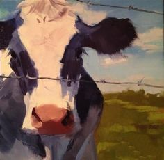 """Daily Paintworks - """" Beloved"""" - Original Fine Art for Sale - © Patty Voje - Drawings Architecture Farm Paintings, Animal Paintings, Paintings For Sale, Cow Painting, Painting & Drawing, Cow Drawing, Painting Trees, Arte Peculiar, Cow Pictures"""