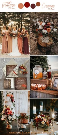 bold vintage october fall wedding color combos in orange and wine wedding quotes 10 Gorgeous Color Combos to Consider for Your Fall Weddings-Part 1 October Wedding Colors, Fall Wedding Colors, Wedding Color Schemes, October Wedding Dresses, Orange Wedding Colors, Autumn Wedding Ideas October, Popular Wedding Colors, Fall Wedding Flowers, Wedding Bouquets